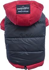 Doggy Dolly W110 Hundejacke Wasserabweisend mit Kapuze, schwarz/rot, Wintermantel / Winterjacke