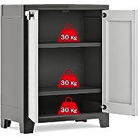 Kis Titan Water Resistant Low Plastic Cupboard - Garden Storage Box Outdoor Locker