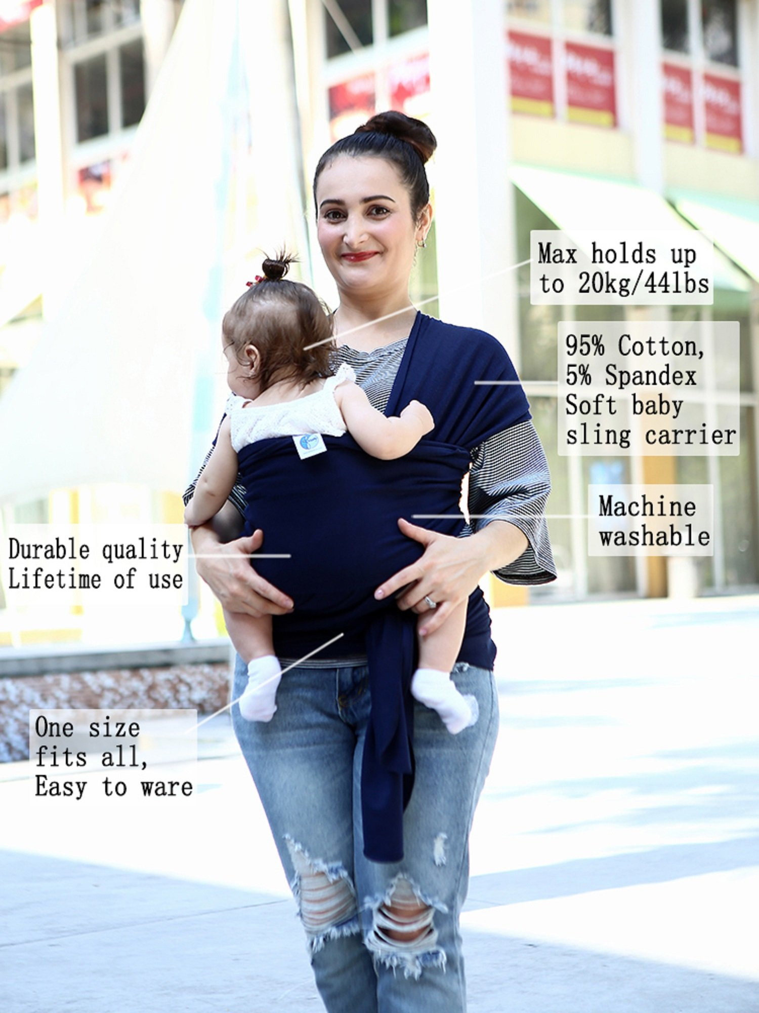 "Baby Wrap Carrier for Newborns, Infants & Toddlers Premium Soft Cotton Baby Sling Carrier for babies up to 44lbs/20kg, Safety Comfortable Functional Navy Blue DEBAIJIA One Size Fits All - Size is 510*53cm(200*21inch), suitable from new born to 20kg/44lbs. Perfect for newborns, infants and toddlers. Easy to Ware - Our wrap is easy and comfortable to wear and comes with a ""How to Use"" instruction booklet. Hands Free - Do housework, breast feeding, grab a coffee, shopping while keeping baby safe and close. 2"