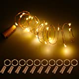 Bottle Lights with Cork 10 Pack, Fulighture Copper Wire with 20 Small LEDs 2M String Lights, Battery Operated Wine…
