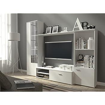 Wohnwand Anbauwand Schrankwand Wohnzimmer Schrank Weiß mit Hochglanz ...