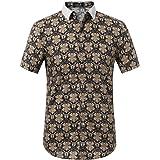SSLR Men's Baroque Printed Regular Fit Casual Short Sleeve Shirt