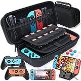 Funda para Nintendo Switch, HEYSTOP 11 en 1 Nintendo Switch Estuche portátil Incluye 2 Joy-Con Grips para Nintendo Switch, Pl