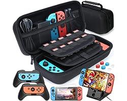 HEYSTOP Protection Kits Compatible avec Nintendo Switch, 2x Grip Compatible avec Nintendo Switch, Support de Jeu Ajustable, P