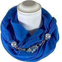 Sciarpa Gioiello Tinta Unita Bluette, Dettaglio Staccabile In Chiusura, Creato Con Corda Morbida Di 6 mm Ricamata Con…