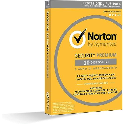 Norton Security Premium Antivirus Software 2019   10 Dispositivi (Licenza di 1 anno)   Compatibile con Mac, Windows, iOS e Android