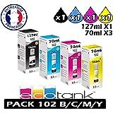 LOT-Pack-Set Cartouches Bouteilles Compatible EPSON ECOTANK 102 C13T03R140 C/M/Y/B Haute Qualité pour ET-2700 ET-2750 ET-3700 ET-3750 ET-4700 ET-4750 ET 2700 2750 3700 3750 4700 4750
