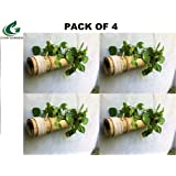 COIR GARDEN - Bamboo Hanging Planters with Adjustable Rope - Bamboo Stand - Bamboo Pot- Pack of 4