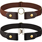 2 Pieces Black and Brown Elastic Belt (No-buckle) with Brass Snap Fastener and A Pair of Brown Brass Buckle