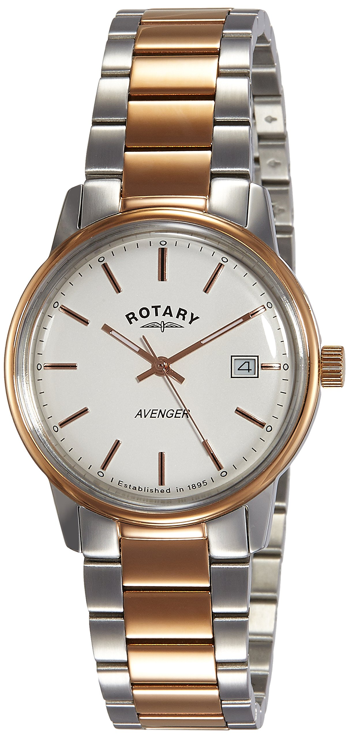 Rotary Men's Quartz Watch with White Dial Analogue Display and Rose Gold Plated Stainless Steel Bracelet GB02875/06