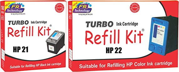 HP 21 Black and HP 22 Color Ink Cartridge Refill, Combo Pack by Turbo