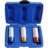 S&R Legeringshjul skyddande slaghylsor set 1/2 tum. 3 st 17-19 - 21 mm. Professionell kit med förvaringslåda