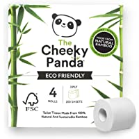 The Cheeky Panda – Bamboo Toilet Tissue Paper | Pack of 4 Rolls (3-Ply, 200 Sheets) | Hypoallergenic, Plastic-Free, Eco…