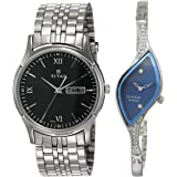 Titan Analog Black and Blue Dial Couple's Unisex Watch -(NK1636SM01 +NK9710SM01)