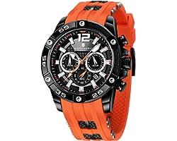 Montre Homme SAPPHERO Mouvement à Quartz 3ATM Montre Homme Etanche Bracelet en Silicone Chronographe Multifonctionnel Sport D