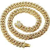 Halukakah Cadena de Oro Diamante para Hombre,14MM/20MM Chapado en Oro Real 18k/Platino con Acabado en Oro Blanco Diamante Cad