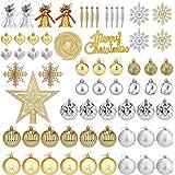 Aitsite 65PCS Palle di Natale 4CM/ 6CM Plastica Palle e Palline per L'Albero Impostare Ornamento Dell'Albero di Natale…
