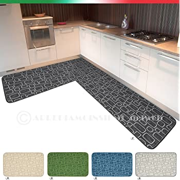 Tappeto cucina ANGOLARE SU MISURA bordato tessitura 3D retro ...