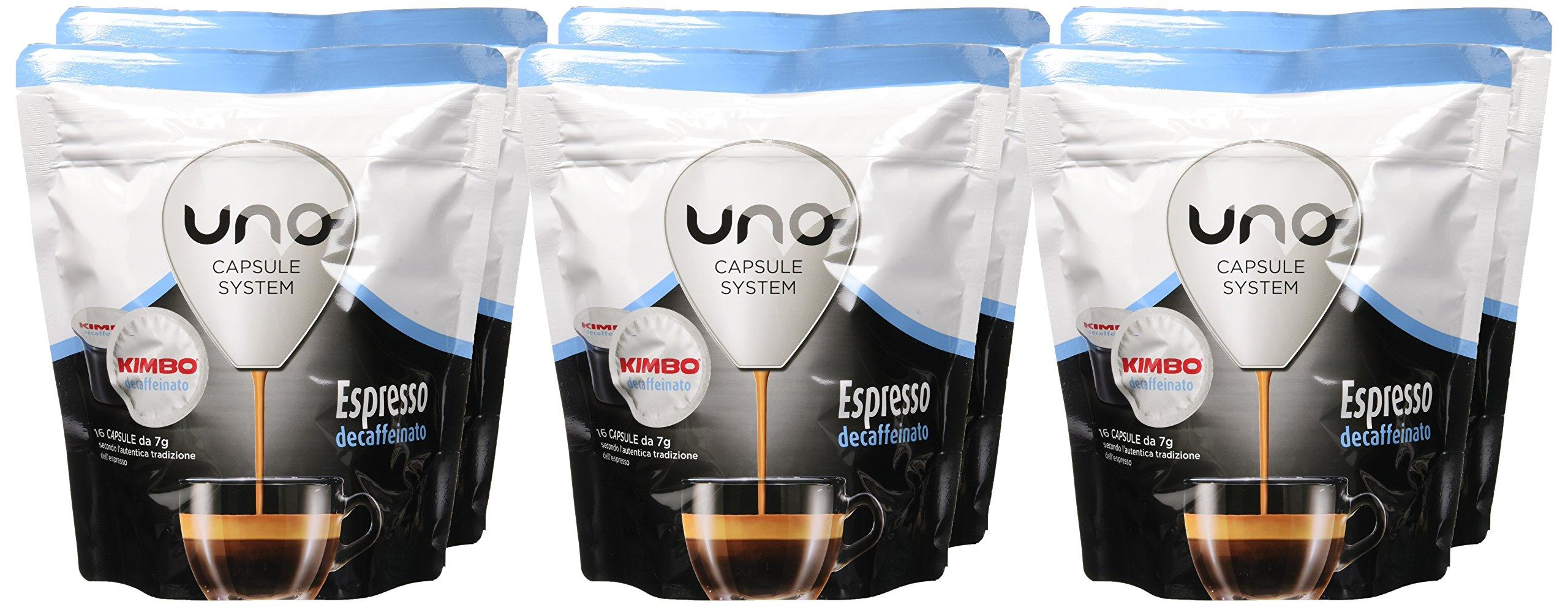 Kimbo Capsule di Caffè Espresso Decaffeinato (Deca), Kimbo UNO System, 6 Pacchi da 16 Capsule (Totale 96 Capsule) 2 spesavip