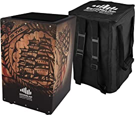 Echoslap GFX Ship Cajon, Black, Hand Crafted, Adjustable Snare, Deep Bass, Maple Frontplate - GFX6-SHIP