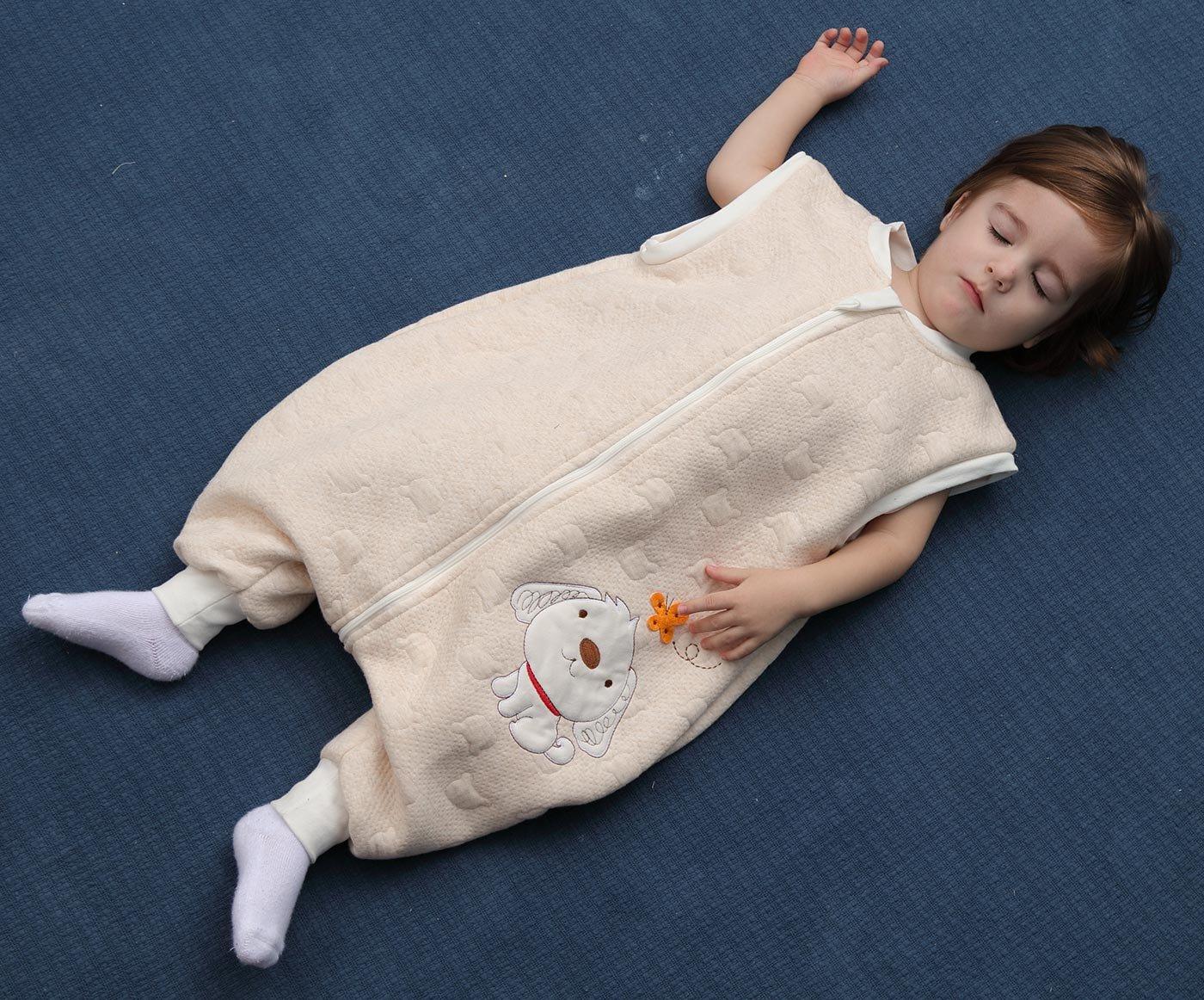 Happy Cherry – Mono Saco de dormir para Bebés Niños Niñas con Manga Larga Desmontable Mameluco Pijama Ropa de Dormir Bebés para Otoño Primavera – Azul Gris Rosa Amarillo