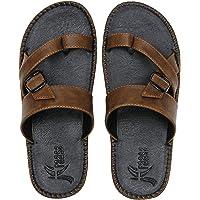 Kraasa Men's Black Synthetic Outdoor Slippers