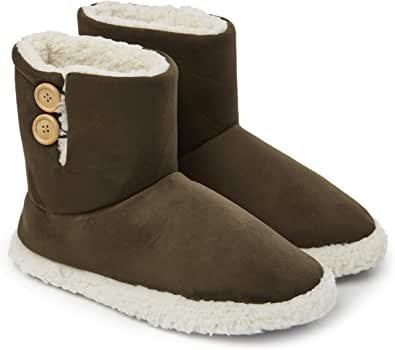 Dunlop Slippers for Women, Faux Sheepskin Fur Bootie Slippers Women, Warm Winter Slipper Ankle Boots, Memory Foam Plush House Slippers, Indoor Outdoor, Gifts for Ladies