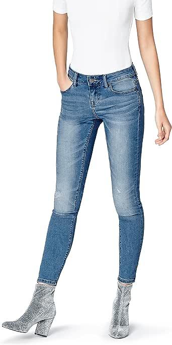 Amazon-Marke: find. Damen Verkürzte Skinny-Jeans mit dekorativen Rissen und heller Waschung