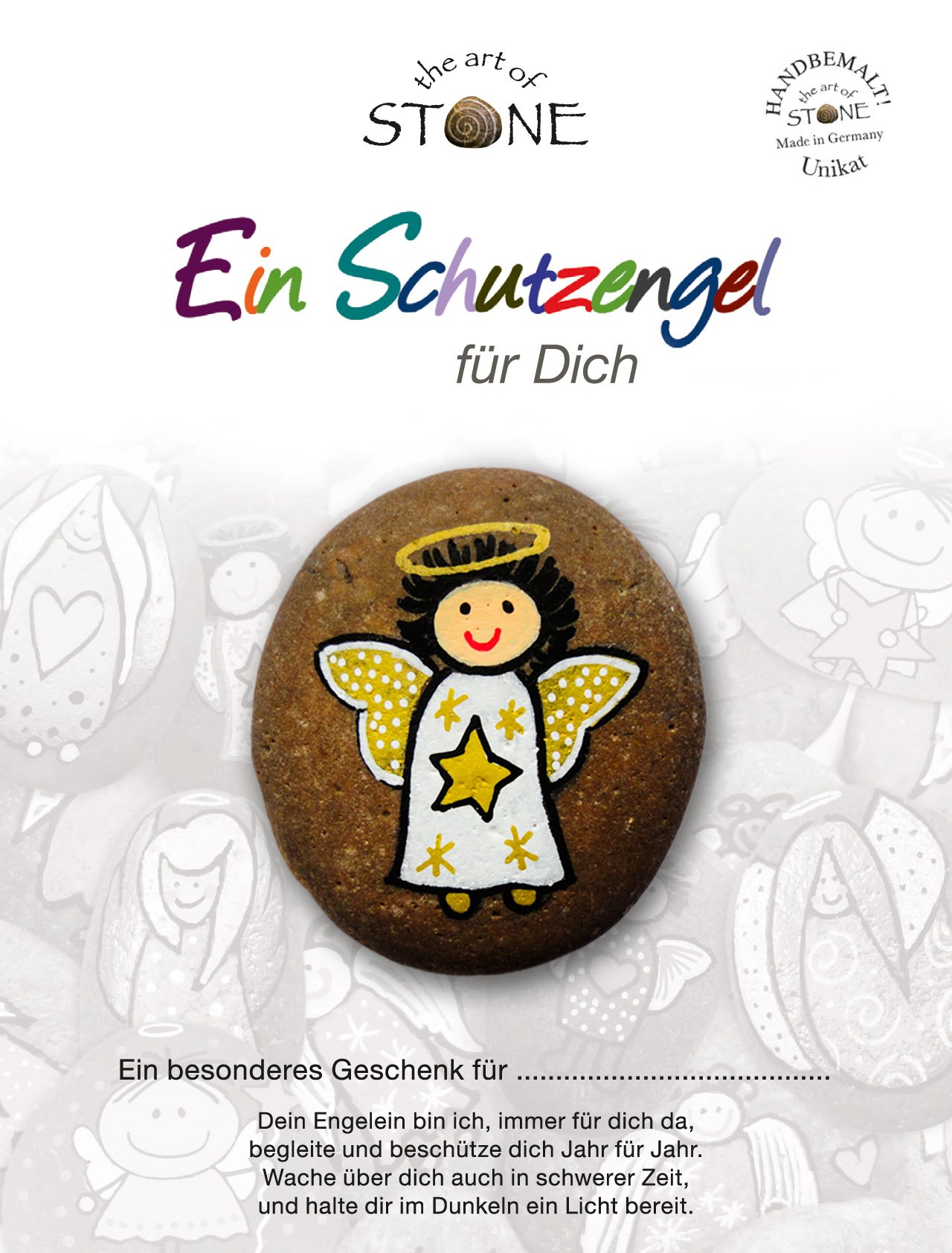The Art of Stone Schutzengel Glücks Stein - Serie 3,1 - Motiv 09 - Handbemalter Naturstein Unikat Handschmeichler…