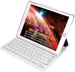"""Inateck iPad Bluetooth Tastatur dt, Keyboard Case für iPad Air 2/iPad Pro 9.7 (Nicht Kompatibel mit iPad 9.7""""(2017)), Smart Cover mit AUT. Wake/Sleep Funktion und Multi-Angle Ständer Weiß"""
