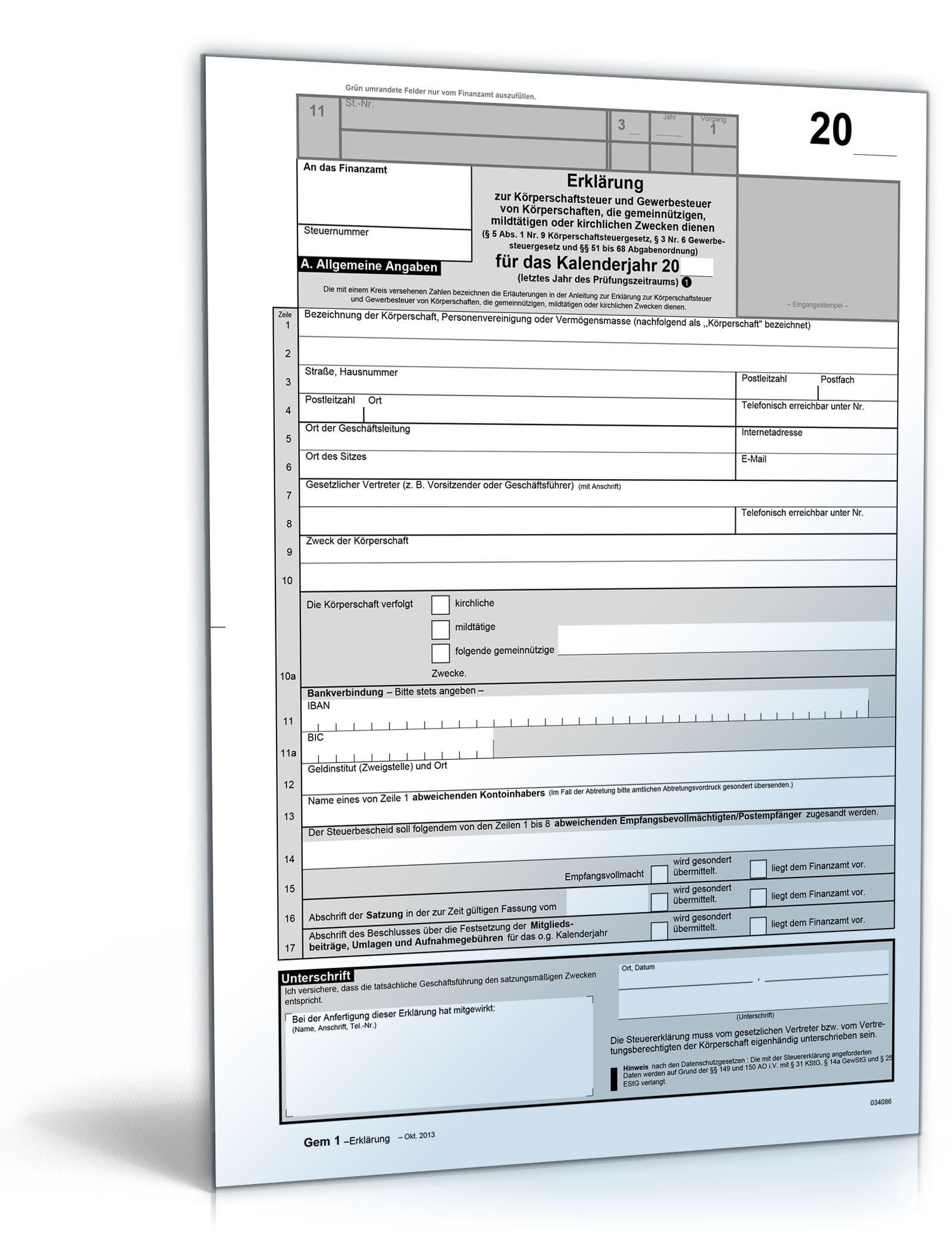 Erklärung zur Körperschaftsteuer und Gewerbesteuer [PDF - Körperschaftsteuer-e&e