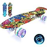 LISOPO Mini Cruiser Skateboard, 22''55cm Mini Skateboard Tavola Robusta, 4 PU Ruote Trasparenti Cuscinetto ABEC-7 per Princip