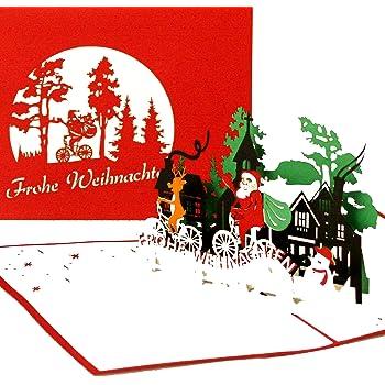 Pop up 3d weihnachtskarten mit rentier b robedarf schreibwaren - Weihnachtskarten amazon ...