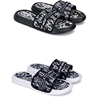 BEONZA Men Black & Blue Combo Pack of 2 Pairs Flip Flop Slides Slippers