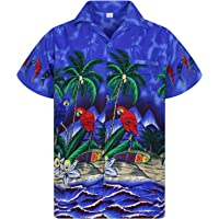 V.H.O. Funky Camicia Hawaiana | Uomo | XS - 12XL | Manica Corta | Tasca-Frontale | Stampa Hawaiano | Pappagallo| Vari…