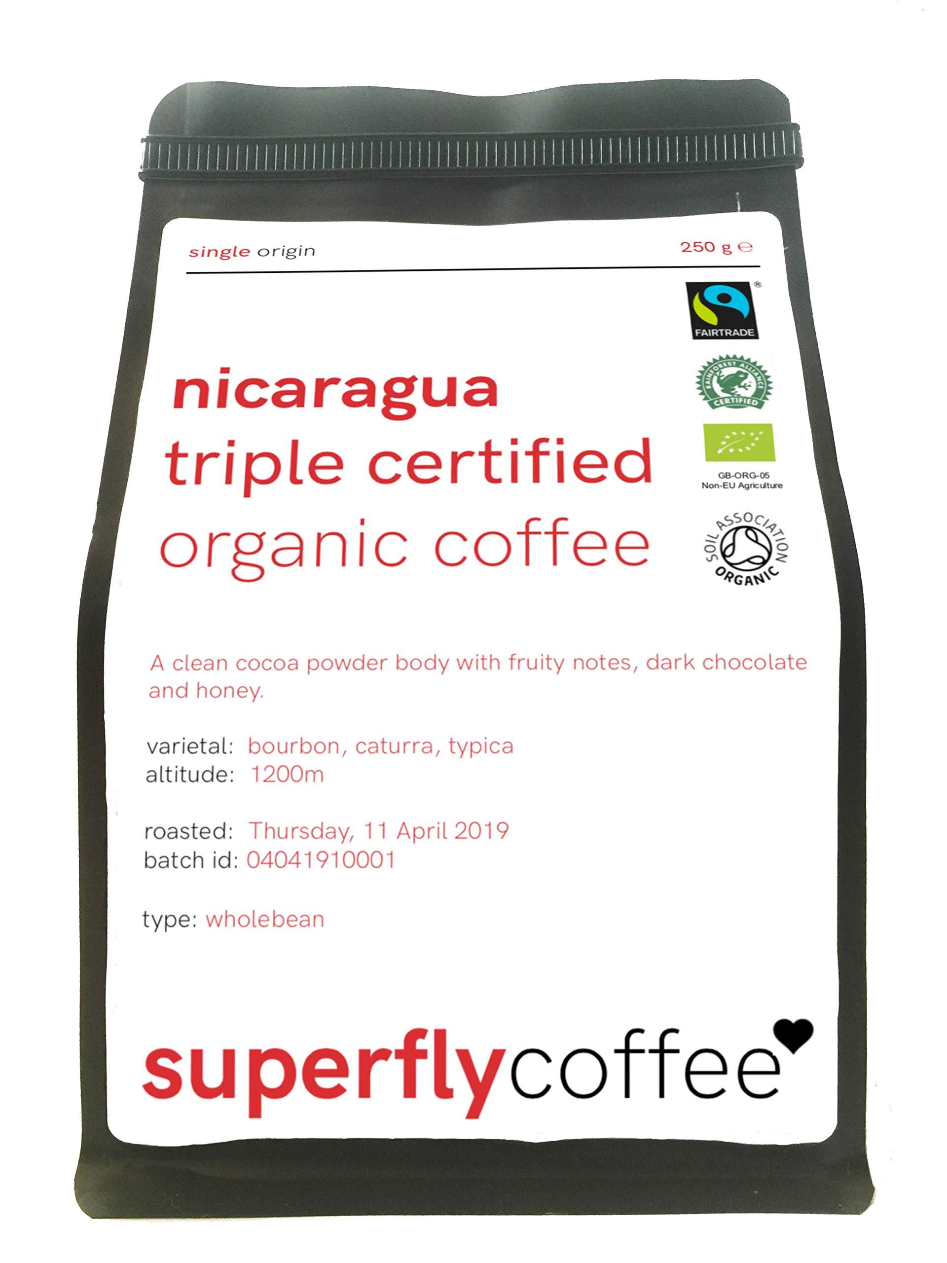 SUPERFLY – Nicaraguan Triple Certified Organic Bulletproof Coffee | 250g Ground | Single Origin Arabica | Fairtrade & Rainforest Alliance Nicaraguan Coffee