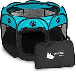 "BIG WING Pet Play Pen Portable Foldable Puppy Dog Pet Cat Rabbit Guinea Pig Fabric Playpen Crate Cage Kennel Tent Large Size:35.8"" x 35.8"" x 22.8""(Blue)"