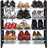 SNAPNCLAP 4 Shelves Shoe Rack, 12 Pairs, Metal & Plastic (Small) (Black & White)