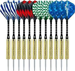 Sametop Dartpfeile 18 Gramm Dart 12 Stücke Metallspitze Steel Darts Set mit Veschiedenen Flights, Aluminum Schafts, Messing Barrels, Dart Point Spitzer