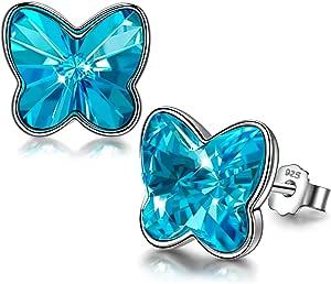 ANGEL NINA Orecchini Donna,Orecchini Argento 925 con cristallo dall'Austria,Orecchini Attract Farfalla, Festa della Mamma,con regalo di gioielli