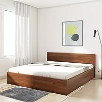Amazon Brand - Solimo Medusa Engineered Wood King Bed with Box Storage (Walnut finish)