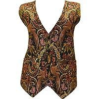 Womens Vintage Style Ethnic Embroidered Boho Hippie Waistcoat Freesize up to Size 12 p002
