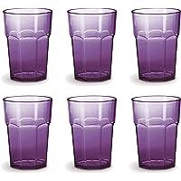 Omada Design Ensemble de 6 verres à boissons de 42,5 cl, en verre ou à long drink, en plastique de 12,5 cm de hauteur…