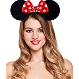 **NEW** BEAUTIFUL BLACK AND RED POLKA DOTS SPARKLE MINNIE MOUSE EARS - FANCY DRESS HEADBAND by Manchester Royalty