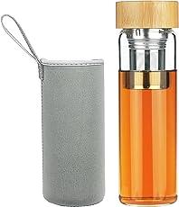 FCSDETAIL Teebereiter Borosilikattee Tee Filter Glas Trinkflasche mit Bambusdeckel 600 ml