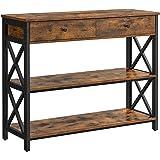 VASAGLE Table Console, Table d'entrée avec 2 tiroirs, Buffet à 3 Niveaux, Cadre en Acier en Forme de X, pour Couloir, Salon,