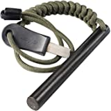 bayite 10cm Survival Ferrocerium Drilled Flint Fire Starter Ferro Rod Kit with Paracord Landyard Handle and Striker