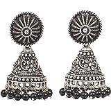 Sansar India Oxidized Stud Beaded Jhumki Earrings for Girls and Women