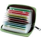 Porta Carte di Credito per Donna Uomo Pelle (Verde)