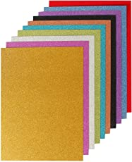 LOGGAS Red Rock Glitter Paperboard for Art and Craft, 250 GSM, A4 Size (10 Assorted Colours)